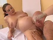 Pregnant cutie licked by old man
